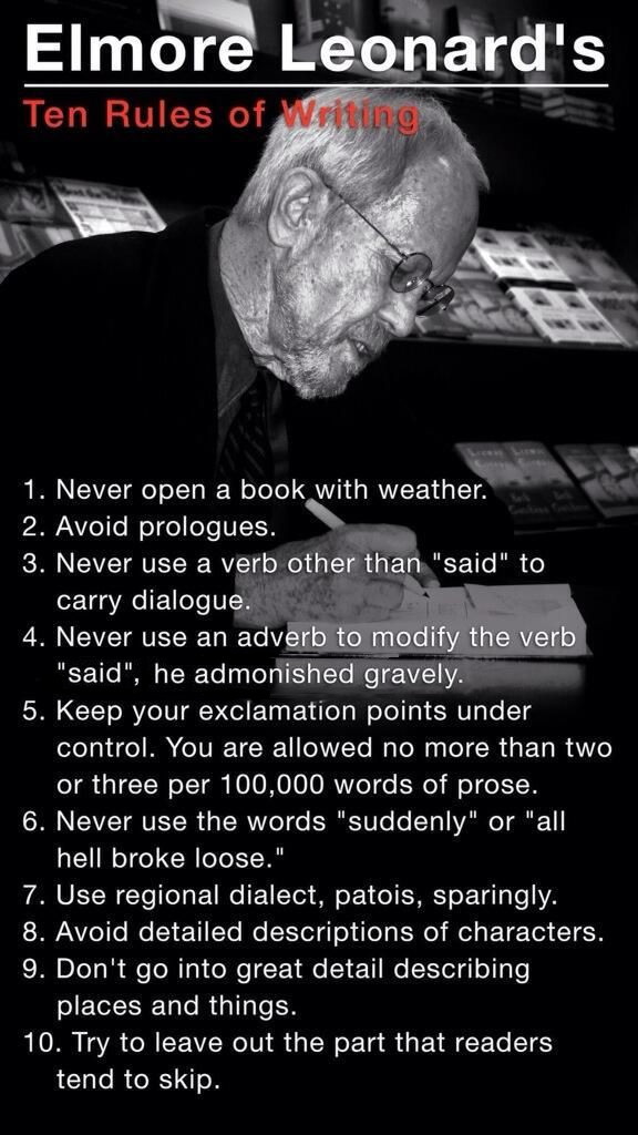 Elmore Leonard's Rules for Writers
